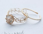 White Topaz Gold Ring - Wire Crocheted 14K Gold Fill & Matching Adjustable Band - Any Size - MADE TO ORDER
