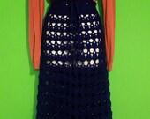 Vintage 70s Womens Handmade Boho Hippie Crochet Maxi skirt Navy Blue Wool Adjustable Waist Small Medium Large