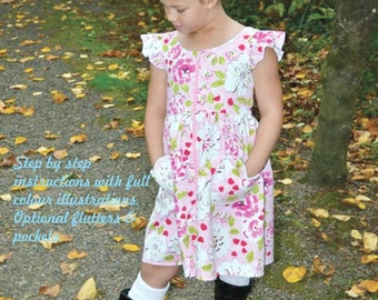 Girls PDF dress pattern, Araleicie, Sizes 2 - 12, instant download