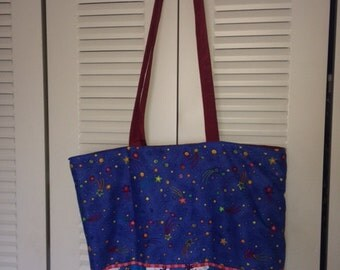 "Cheerleader 17"" Lined Cotton Fabric Handmade Tote Bag"