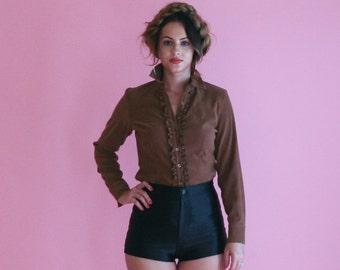 brown ruffle blouse/ button up ruffle tuxedo top/ 1990s/ small - medium