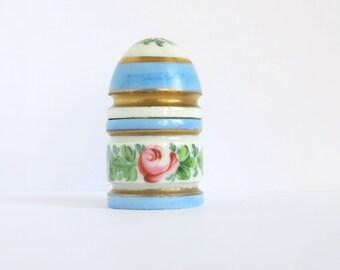 Vintage French Table Lighter Porcelain Floral Baby Blue Gold Gilt Made in France