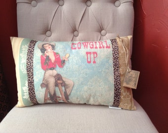Retro Pin Up Cowgirl Up Pillow