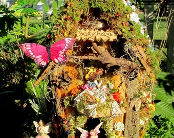 Butterfly Fairy Cottage / Indoor Garden House- All decked  out!  Bring the Summer inside, great for Mom  or your loved  One!