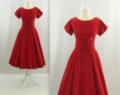 1950s Cranberry Kiss Velvet Party Dress - Vintage 50s Red Circle Skirt Cocktail Dress in Small by Winnie Marsh
