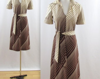 Sale Vintage 1970s Diagonal Stripe A Line Day Dress in Brown - Small by St.Michael