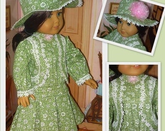 Daytime Victorian Dress with Hat fits American Girl Doll Samantha