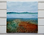 Abstract Painting, Abstract Landsape,Original Painting, Minimalist, Textured, Teal, Blues, Brown, small art 10x10 canvas board