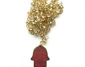 Hamsa Hand Arabesque Necklace Oriental Lariat Y Necklace Arabesque Hamsa Necklace Pink and Green Flashy Necklace