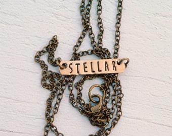SALE Stellar Brass Bar Necklace