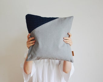 gray pillow cover - made of cotton twill with a dark blue knit insert - made of lambswool