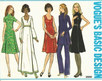 Vogue 2600 High waist dress two lengths tunic top princess seams neckline/sleeve variations and pants Size 12 Basic Design uncut