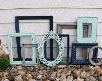 Set of 9 Upcycled Frames - Aqua Blue, Gray, and Navy Blue - Wall Gallery - Nursery - Wedding - Vintage Frames - Frame Set - Scatter Frames
