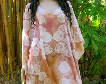 Hand Dyed Silk Kaftan, Cover up, Silkz Design Caftan