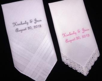 Hankies for Bride Groom Personalized Wedding Monogrammed