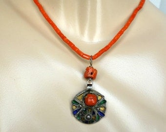 Vintage Berber Necklace, Art Deco Coral Berber Necklace, French Coin, Moroccan Necklace