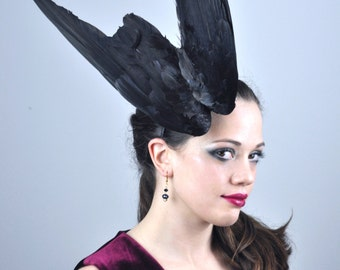 Feather Fascinator in Folded Crow Wings