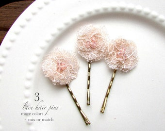 3 Small Champagne Blush Flower Hair Pins Baby Wedding Bridal Girls Rose Gold Hair Accessories, Tiny Flower hair, Lace Flower Hairpin Bobby