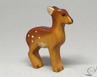 Toy fawn standing wooden brown Size: 6,2 x 7,3  x 1,6 cm (bxhxs) ca. 14,0 gr.