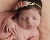 Newborn Photo Prop - Newborn Headband: Newborn Tieback, Newborn Flower Crown, Newborn Halo, Organic Photography Props, Pink Rose, Dusty Rose