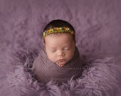 Newborn Photo Prop - Newborn Headband. Newborn Tieback. Newborn Halo. Newborn Crown. Organic Photography Prop, Rainbow, Pink, Purple, Moss