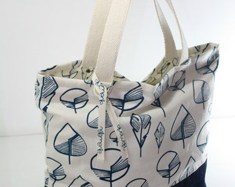 Tote bag hand-printed with leaves - Ecru and Navy blue cotton bag screen printed