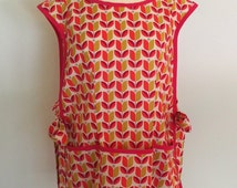 Retro Cobbler Apron, Dark Pink and Mustard Apron, Smock Apron with Tulip Flowers, Full Coverage Apron, Over the Head, Joel Dewberry Flora