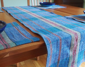 Fall Table Runner in Royal Blue, Red and Tan Plaid, Linen Table Runner, Heavy Weight Linen, Yarn Dyed, Flax Table Runner, Marina Plaid Linen