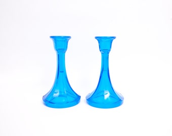 Antique Northwood Glass Turquoise Candlesticks Trumpet Design Hexagon Stretch Glass Aqua Candle Holders