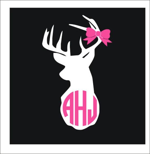 Deer Head Monogram Decal Vinyl Decal Buck Decal Hunting Vinyl