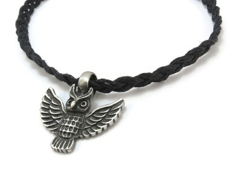 Hemp Necklace, Owl Jewelry - Silver Owl Pendant with Hemp Cord - Bird Jewelry, Owl Necklace