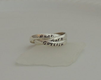 Personalized Interlocking Rings - Triple Name Rings - Name Rings - Rolling Rings  - Mother's Ring - Three Band Ring - Sterling Silver