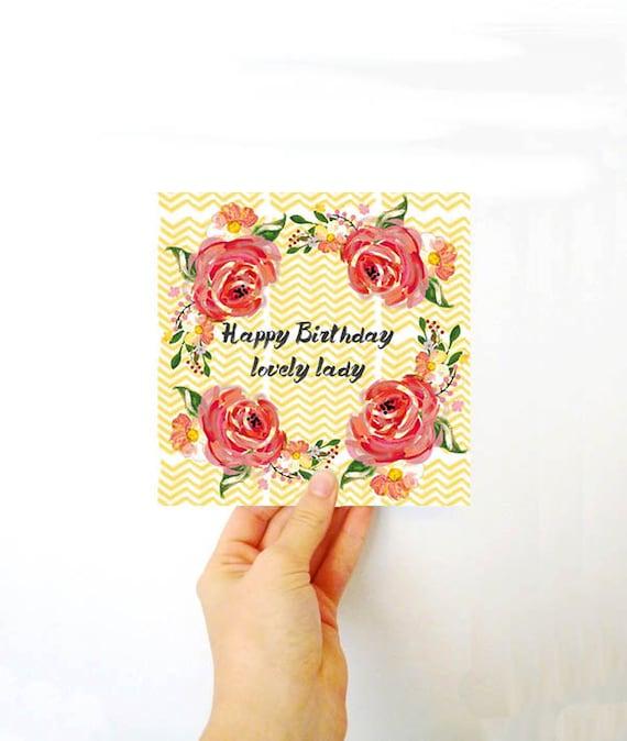 Happy Birthday card - Happy birthday lovely lady - Birthday card for her - Fun - Floral - Pretty