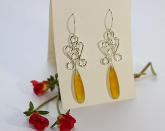 Sterling Silver Filigree and Chalcedony Drops - Long Earrings - Bridesmaid Earrings - Evening wear - Handmade Filigree