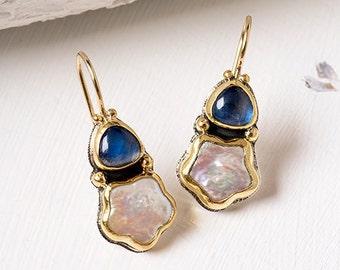 Gold Pearl Earrings, Gold Moonstone Earrings, 22k Solid Gold Earrings, 22k Gold Jewelry, Pearl dangle Earrings, Gold Earrings for Women