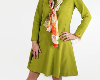 60s Catalina Scooter Dress Mod Deadstock Green Fall Fashion Scarf