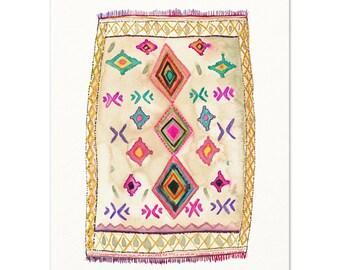 Moroccan Rug.  Watercolor Rug Illustration.  Bohemian Decor.  Hippie Wall Art.  Modern Boho Wall Art.