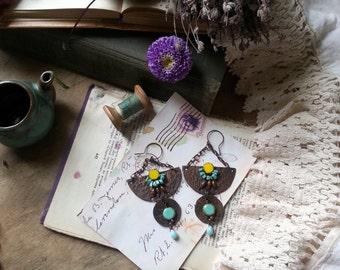 Egyptian Copper Earrings  Wire Wrapped Bohemian Copper Earrings -  BohoTribal Earrings - Lapis lazuli, turquoise - Blue orange