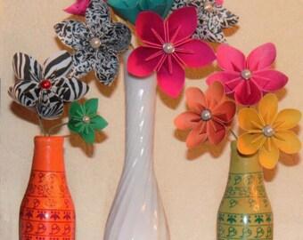 Sample Paper Flowers- Set of 3 Hand Folded Paper Flowers