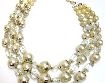 Three Strand Pearl Crystal Necklace AB Crystal Ivory Pearl Bridal Necklace Wedding Jewelry Pearl Crystal Silver Gold Jewelry DD 715