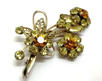 Rhinestone Floral Bouquet Brooch Vintage Jonquil Gold Topaz Pale Yellow Golden Rhinestone Flowers Wedding Bridal Bouquet Brooch DD 587