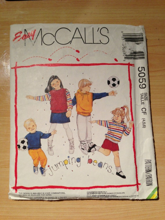 McCalls 5059 Sewing Pattern 90s Children's, Boys' and Girls' Tops or Vest, Skirt and Pants For Stretch Knits Jumping Beans Size 4, 5, 6