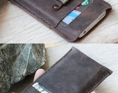 iPhone4/ iPhone4s/ 2 side mini dark brown distressed leather iphone case with clip belt