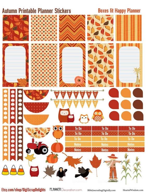 Autumn Days Printable Planner Stickers #1 for Happy Planner : Owls ...
