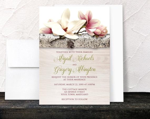Magnolia wedding invitations summer spring rustic chic for Magnolia tree wedding invitations