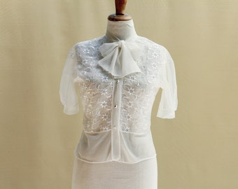 Blouse Mad Men 50s Retro Vintage Ivory Sheer Blouse. Embroidered Lace Nylon Collar. Mid Century Romantic Rockabilly.