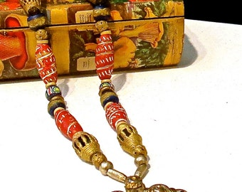 Bohemian BOHO Beaded Necklace, Single Strand Tribal Necklace, Gold Lost Wax Beads, Carved Stone Beads, Nepal Vintage Metal Pendant,