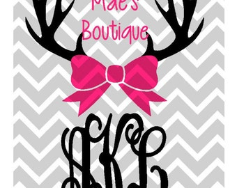 Deer Antlers with Bow SVG, DXF Instant Download