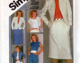 "1980s Women's Funnel-neckline Jacket, Tapered Pants, Slim Skirt  & Sleeveless Top Pattern - Size12, Bust 34"" - Simplicity 8540 uncut"