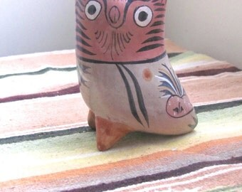 Tonala Pottery Owl, Antique Mexican Pottery, Brunido / Burnished, Shape Shifter, Nahual Shaman, Flor De Tonala , Floral Decoration